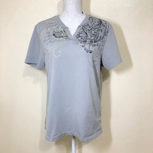 G by Guess Angel/Cherub Scroll Embroidered T-shirt